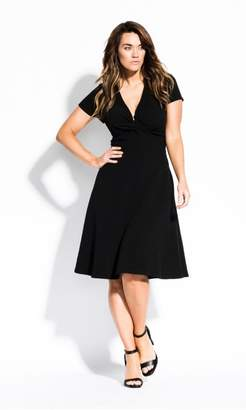 City Chic Citychic Plunge Neck Dress - black f115f9ddc
