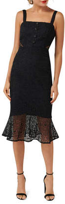 Ever New Button Detail Sleeveless Flippy-Hem Lace Dress