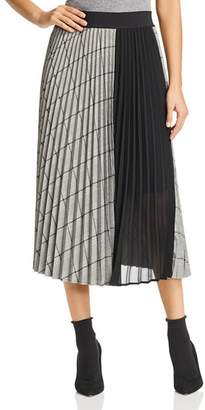 Marella Arold Pleated Glen Plaid Midi Skirt