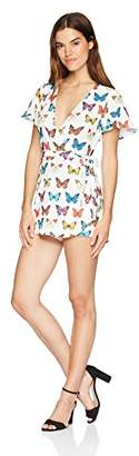 Show Me Your Mumu Women's Sabrina Romper with Cross Front and Skorts with Butterflies