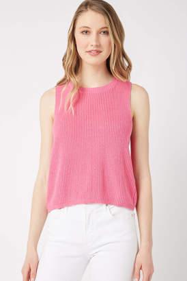 Neely Tie Back Sleeveless Sweater Tank Top Pink XS