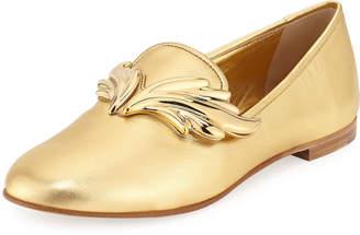Giuseppe Zanotti Wing Metallic Leather Loafers