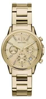 Armani Exchange Ladies Swarovski Crystal Goldtone Stainless Steel Bracelet Watch