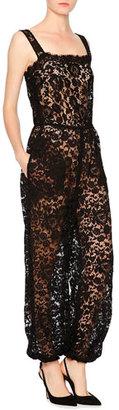 Dolce & Gabbana Sleeveless Square-Neck Lace Jumpsuit, Black $2,695 thestylecure.com