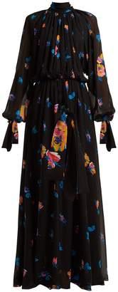 MSGM Floral-print chiffon maxi dress