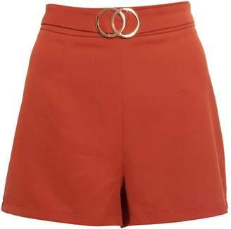 Quiz Rust Buckle Detail Shorts