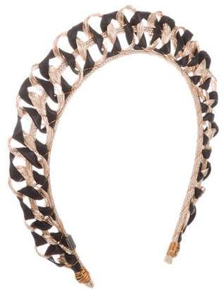 Colette Malouf Leather-Trimmed Wire Headband