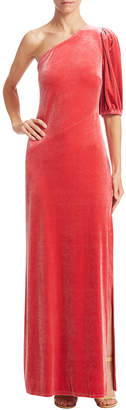 ABS by Allen Schwartz Velvet One-Shoulder Gown