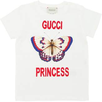 Gucci Butterfly Print Cotton Jersey T-Shirt
