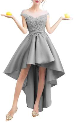 Vimans Womens Satin High Low Homecoming Dresses 2018 Formal Prom Gown Size Light Grey