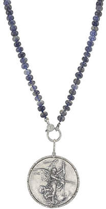 Sheryl Lowe Knotted Iolite & Angel Coin Pendant Necklace