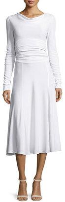 Derek Lam Long-Sleeve Cowl-Neck Cummerbund-Waist Dress, White $1,595 thestylecure.com