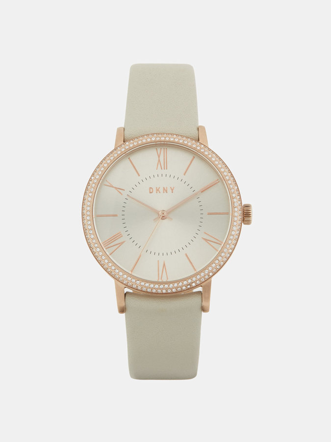 DKNY Willoughby Rose Gold-Tone Stainless Steel And Beige Leather Watch With Glitz
