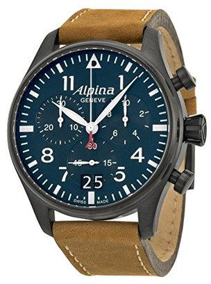 Alpina Startimerパイロットクロノグラフブルーダイヤルブラウンレザーメンズ腕時計al-372 N4fbs6