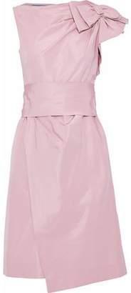 Prada Wrap-Effect Bow-Embellished Silk-Faille Dress