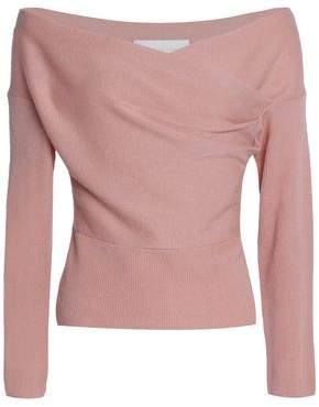 Michelle Mason Off-The-Shoulder Draped Merino Wool And Cashmere-Blend Sweater