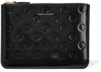 Comme des Garcons Embossed Glossed-leather Pouch - Black