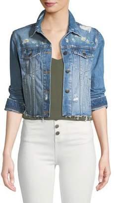Veronica Beard Cara Distressed Floral Denim Cutoff Jacket