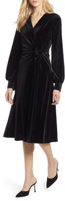 Halogen Velvet Faux Wrap Dress