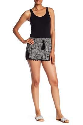 Lily White Crochet Trim Printed Shorts