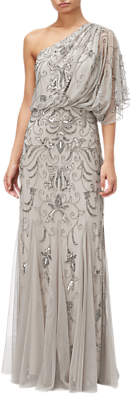 Adrianna Papell One Shoulder Blouson Bead Gown, Platinum