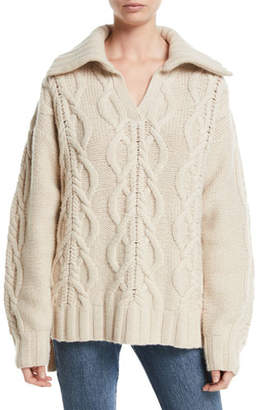 Co V-Neck Long-Sleeve Cable-Knit Cashmere-Blend Sweater w/ Ribbed Collar
