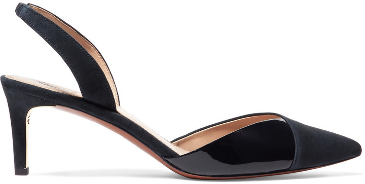 Tory BurchTory Burch Ramie suede and patent-leather slingback pumps