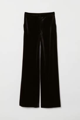 H&M Wide-leg Velvet Pants - Black
