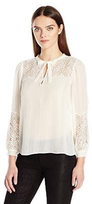 Rebecca Taylor Women's Ls Chif Top W/Lace