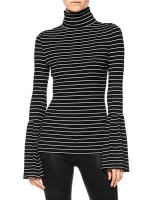 Paige Women's Kenzie Stripe Turtleneck - Black White - Size Small