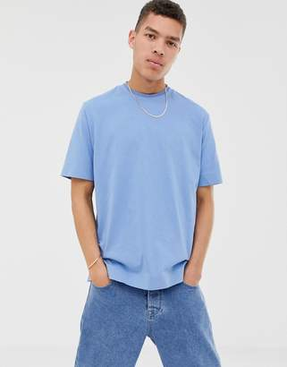 Asos loose fit t-shirt in dusky blue soft cotton with double neck rib