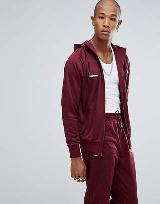 Ellesse Poly Tricot Track Zip Through Hoodie In Burgundy