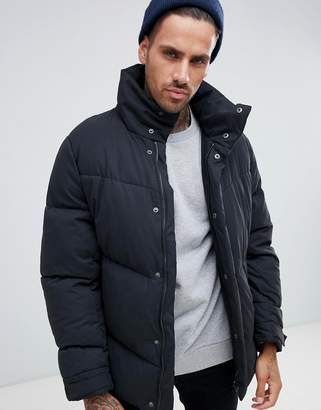 Asos DESIGN oversized puffer jacket in black