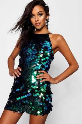 boohoo Boutique Iridescent Disc Sequin Dress