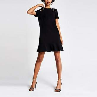 River Island Black short sleeve peplum hem shift dress