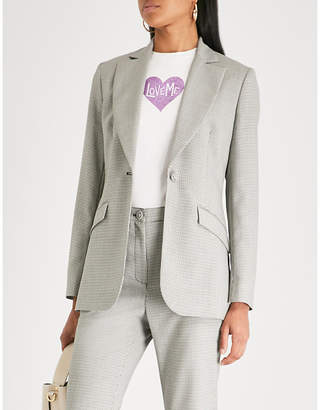 ALEXACHUNG Dogtooth checked wool-blend jacket