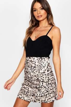 boohoo Leopard Print Ruffle Mini Skirt