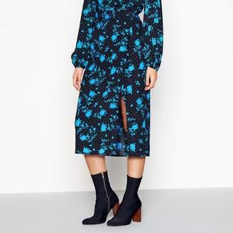 Red Herring Black Floral Midi Side Split Skirt
