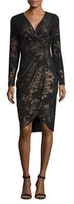 Rachel Roy Lauren Foil Print Jersey Wrap Dress