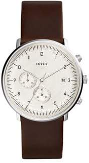 Fossil Chase Timer Stainless Steel Leather-Strap Chronograph Watch