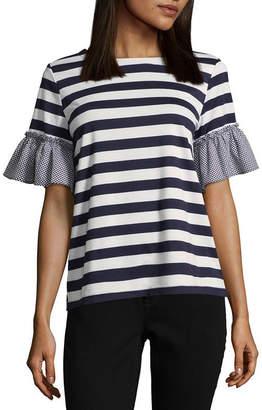 Liz Claiborne ISELA Isela Short Sleeve Crew Neck Stripe T-Shirt-Womens