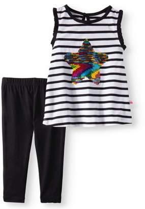 Limited Too Toddler Girl Flip Sequin Tank Top & Capri Leggings, 2pc Outfit Set