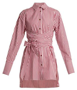 Khaite - Bianca Striped Tie Waist Cotton Shirt - Womens - Red Stripe