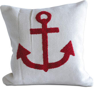 """3r Studio 18"""" Square Cotton Pillow with Embroidered Anchor"""