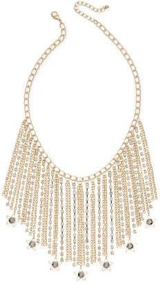 INC International Concepts I.N.C. Gold-Tone Hematite Stone Fringe Statement Necklace, Created for Macy's