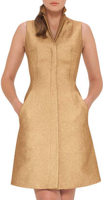Akris Sleeveless Coat Dress w/Back A-Cutout, Gold