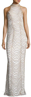 Jovani Halter-Neck Long Layered Chain Dress