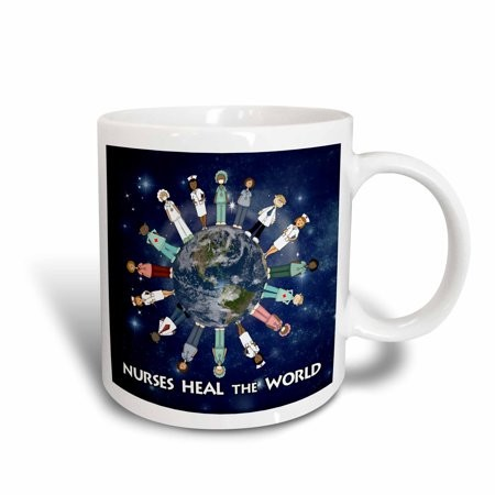 3dRose Nurses Heal the World planet earth with male and female nurses of all cultures circling the globe, Ceramic Mug, 15-ounce