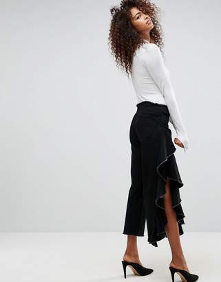 Asos Straight Leg Jean With Cascading Ruffle Side In Clean Black