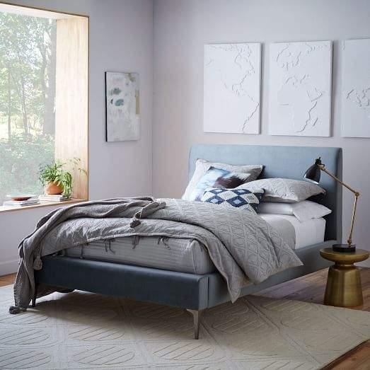 Andes Deco Upholstered Bed - Steel Blue (Luster Velvet)